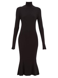 Norma Kamali Roll Neck Stretch Jersey Midi Dress Black