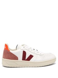 Veja V 10 Low Top Leather Trainers Burgundy White