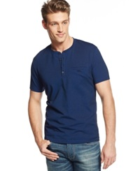 Alfani Big And Tall Pierre Pique Henley T Shirt Hyper Blue