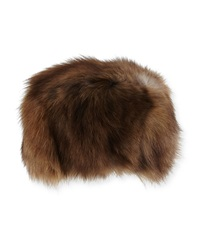 Adrienne Landau Fox Fur Hat Brown