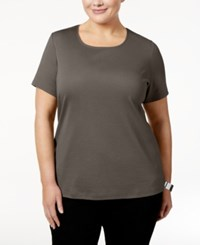 Karen Scott Plus Size Cotton Scoop Neck T Shirt Only At Macy's Brown Clay