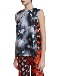 Acne Studios Sleeveless Patchwork Blouse Rose Palm Mix Women's