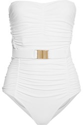 Melissa Odabash Croatia Belted Ruched Bandeau Swimsuit White