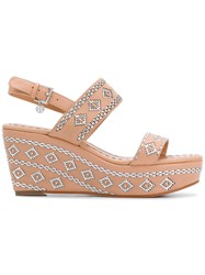 Tory Burch Woven Slingback Wedge Sandals Nude And Neutrals