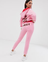 Juicy Couture Black Label Flames Logo High Waisted Joggers Pink