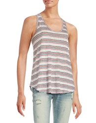 Free People Striped Racerback Tank White
