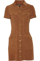 Current Elliott The Trucker Suede Mini Shirt Dress Brown
