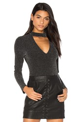 J.O.A. Low V Neck Bodysuit Black