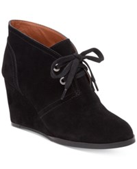 Lucky Brand Women's Seleste Lace Up Wedge Booties Women's Shoes Black