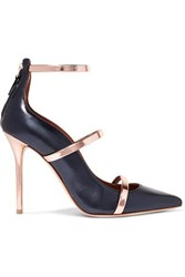 Malone Souliers Robyn Metallic Leather Trimmed Pumps Navy