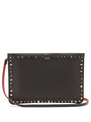 Christian Louboutin Loubi Stud Embellished Leather Clutch Black Multi