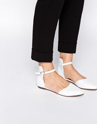 Warehouse Pointed Leather Flat Shoes White