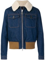 Ami Alexandre Mattiussi Zipped Denim Jacket With Shearling Collar Grey
