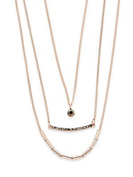 Saks Fifth Avenue Three Row Layered Necklace Rose Goldtone