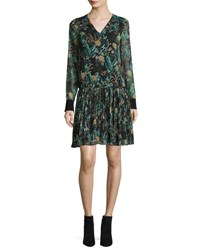 Grey By Jason Wu Long Sleeve Dropped Waist Floral Chiffon Dress Black Multi