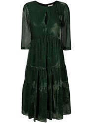 Black Coral Pleated Dress Green