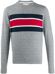 Sun 68 Stripe Detail Sweater Grey