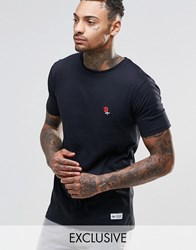 Hype T Shirt With Embroidered Rose Black