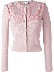 Red Valentino Frill Crochet Cardigan Pink And Purple