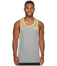 Adidas Fdtn Tank Top Grey 3 Egt Yellow Men's Sleeveless Gray