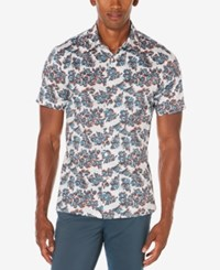 Perry Ellis Men's Big And Tall Floating Floral Print Shirt A Macy's Exclusive Style Bright White