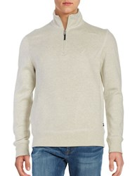 Nautica Windward Stand Collar Quarter Zip Sweater Oatmeal