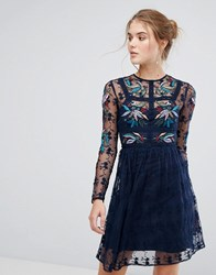Frock And Frill Floral Embroidered Skater Mini Dress With Lace Trim Navy