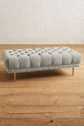 Anthropologie Velvet Mina Grand Ottoman Light Grey