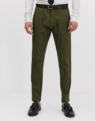 Esprit Slim Fit Suit Trouser In Khaki Green