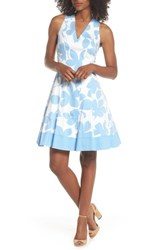 Maggy London Print Fit And Flare Dress Soft White Sky Blue
