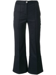 Eudon Choi Flared And Cropped Trousers Blue