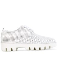 Rocco P. Ridged Sole Lace Up Sneakers Women Leather Rubber 40 White