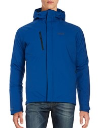 Jack Wolfskin Breathable Waterproof Hooded Activewear Jacket Deep Sea