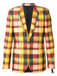Paul Smith Plaid Blazer Yellow And Orange