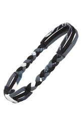Zella 'Nomad' Braided Headband Grey Graphite Texture Block