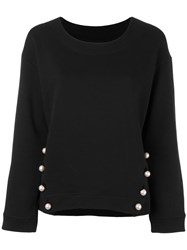 Boutique Moschino Buttoned Boat Neck Sweatshirt Black