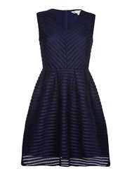 Yumi Embroidered Skater Dress Navy
