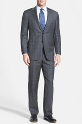 Hickey Freeman Classic Fit Grey Worsted Wool Suit