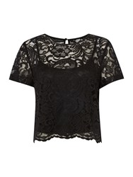 Linea Lace Shell Top Black