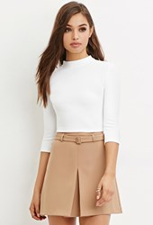 Forever 21 Cutout Back Crop Top Ivory