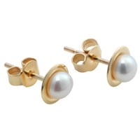 A B Davis 9Ct Gold Freshwater White Pearl Stud Earrings White