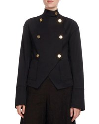 Loewe High Neck Double Breasted Military Jacket Black