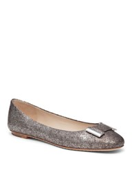 Delman Froth Embossed Leather Flats Silver