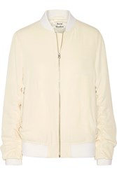 Acne Studios Leia Ruched Twill Bomber Jacket Off White