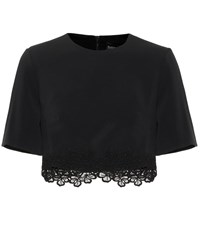 David Koma Cady And Macrame Crop Top Black