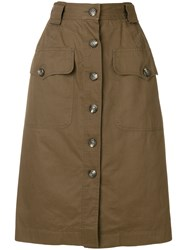 Yves Saint Laurent Vintage Straight Buttoned Skirt Brown