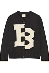 Band Of Outsiders Merino Wool Blend And Boucle Cardigan Black