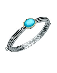 Lord And Taylor Sterling Silver 14Kt. Yellow Gold Quartz Doublet Bangle Blue Silver