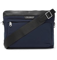 Paul Smith Leather Trimmed Canvas Messenger Bag Navy