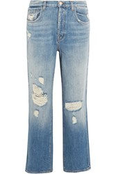 J Brand Ivy Cropped Distressed High Rise Straight Leg Jeans Mid Denim